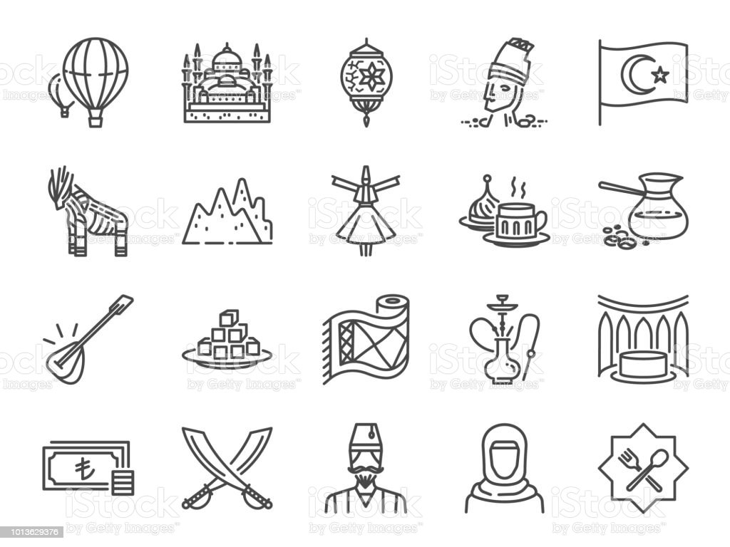 Turkey icon set. Included icons as Turkish, Istanbul, Cappadocia, Islamic, traditional, coffee and more. vector art illustration