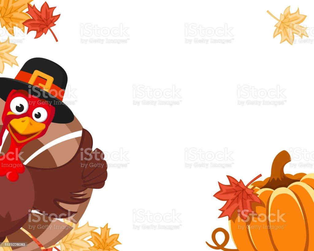 Turquía en un sombrero se asoma con una calabaza y hojas de otoño, lugar para el texto. Día de Acción de Gracias de Blanche - arte vectorial de Amarillo - Color libre de derechos