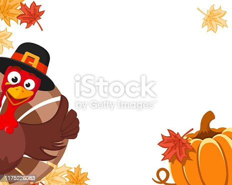 istock Turkey in a hat peeks out with a pumpkin and autumn leaves, place for text. Blanche Thanksgiving Day 1175226083