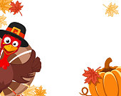 A turkey in a hat peeks out with a pumpkin and autumn leaves, place for text. Blanche Thanksgiving Day