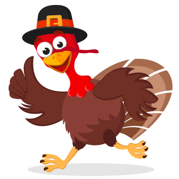 Turkey in a hat runs on a white background. Character A turkey in a hat runs on a white background. Character turkey stock illustrations