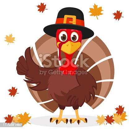 Turkey in hat shows like on a white background with autumn leaves. Thanksgiving day.