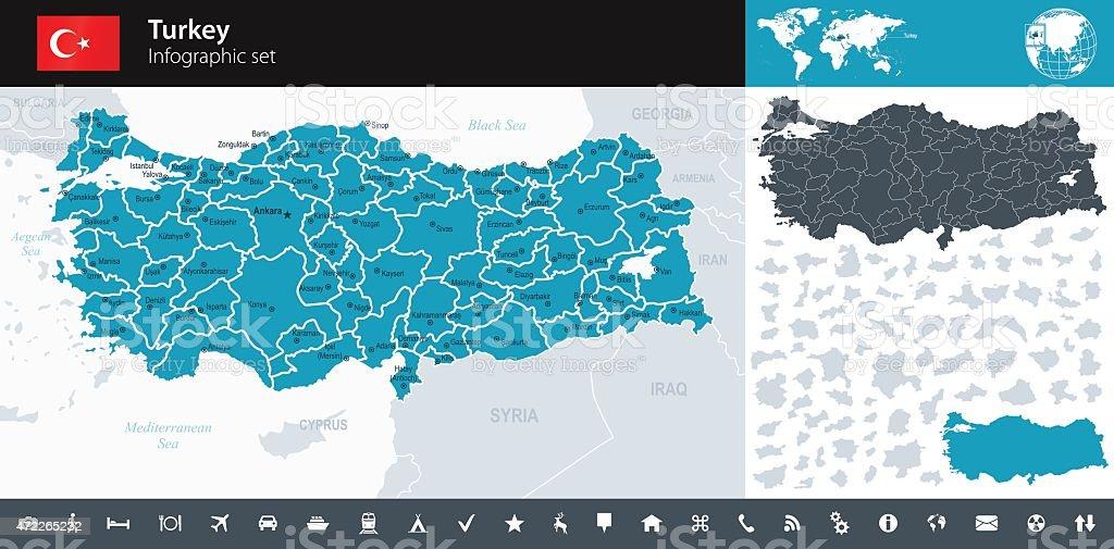 Turkey - Infographic map - illustration vector art illustration