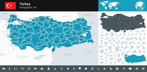 Turkey - Infographic map - illustration Vector maps of Turkey with variable specification and icons turkish stock illustrations