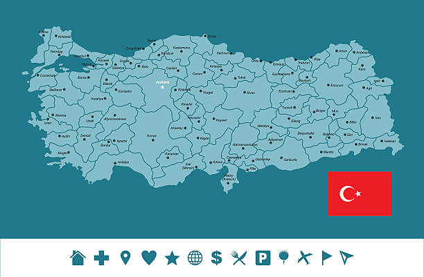stockillustraties, clipart, cartoons en iconen met turkey infographic map - erzurum