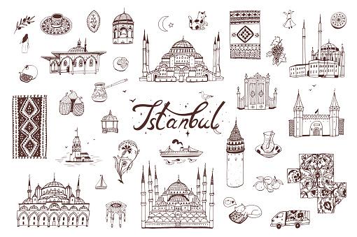 Turkey Istanbul vector hand drawn illustrations set