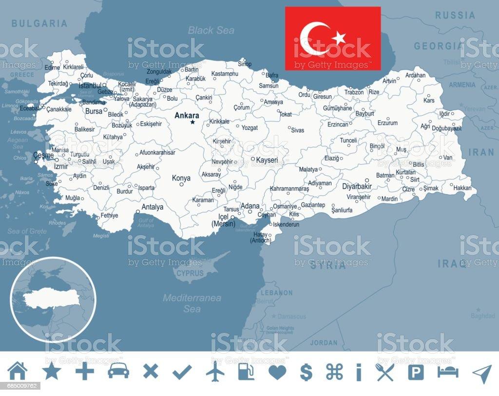 Turkiet Karta Och Flaggan Illustration Vektorgrafik Och Fler Bilder