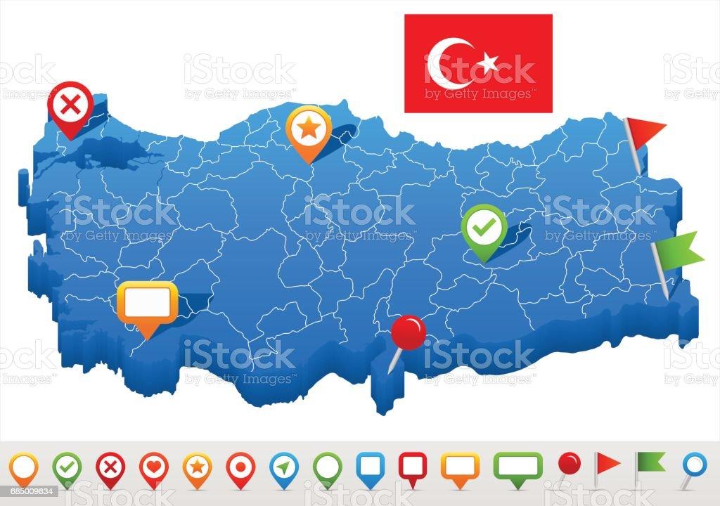 Türkei - Karte und Flagge – illustration Lizenzfreies türkei karte und flagge illustration stock vektor art und mehr bilder von adana