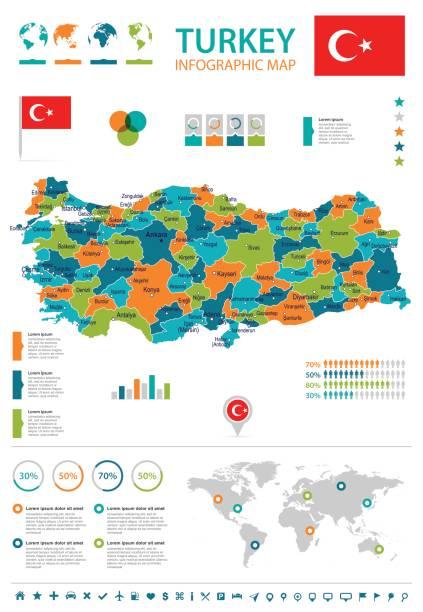 türkei - karte und flagge – infografik illustration - alanya stock-grafiken, -clipart, -cartoons und -symbole