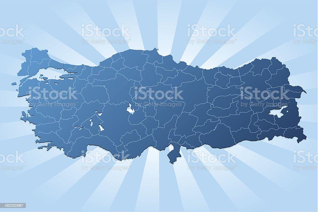 Turkey map blue rays royalty-free stock vector art
