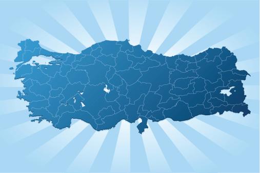 Turkey map blue rays
