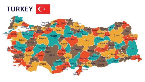09 - türkei karte - blauen fleck isolierte 101 - alanya stock-grafiken, -clipart, -cartoons und -symbole