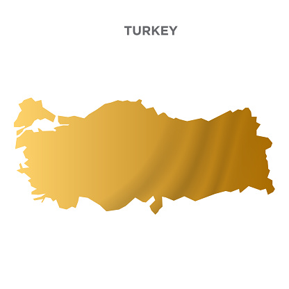 Turkey map concept design. New Year concept for advertising, banners, leaflets and flyers. Gold Colored map. Vector illustration.