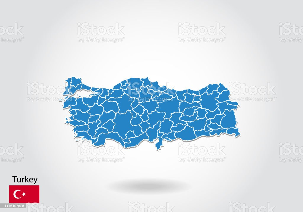 Turkey Map Design With 3d Style Blue Turkey Map And National ...