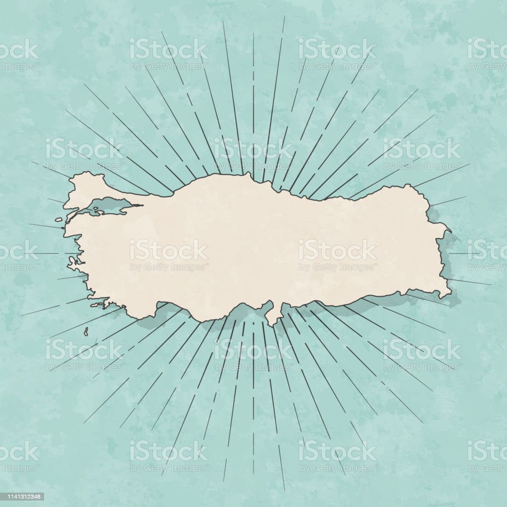 Map of Turkey in a trendy vintage style. Beautiful retro illustration...