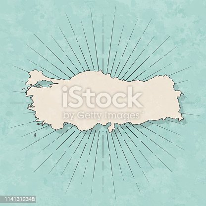 Map of Turkey in a trendy vintage style. Beautiful retro illustration with old textured paper and light rays in the background (colors used: blue, green, beige and black for the outline). Vector Illustration (EPS10, well layered and grouped). Easy to edit, manipulate, resize or colorize.