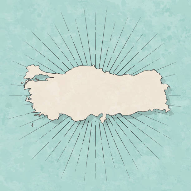 Turkey map in retro vintage style - Old textured paper Map of Turkey in a trendy vintage style. Beautiful retro illustration with old textured paper and light rays in the background (colors used: blue, green, beige and black for the outline). Vector Illustration (EPS10, well layered and grouped). Easy to edit, manipulate, resize or colorize. turkish stock illustrations