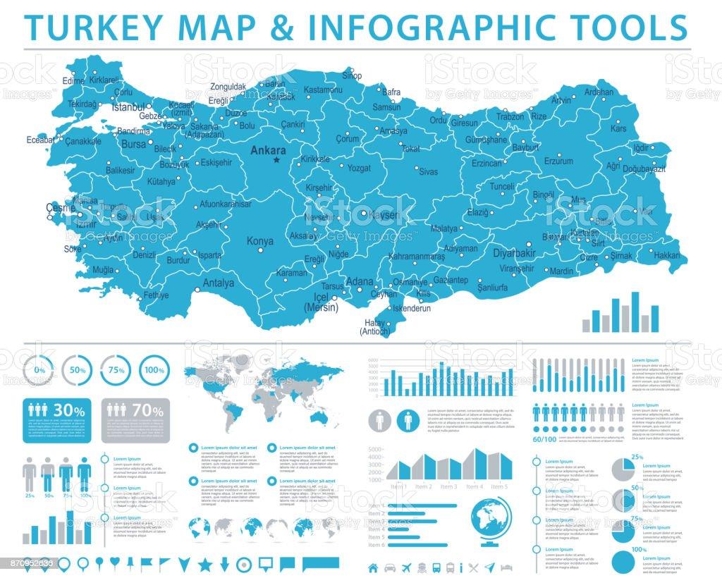 Türkiye Haritası - bilgi grafik vektör çizim vektör sanat illüstrasyonu