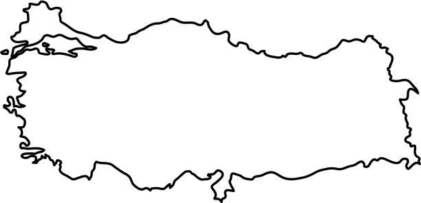 turkey map of black contour curves of vector illustration - turcja stock illustrations