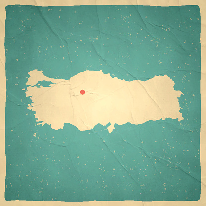 Turkey Map on old paper - vintage texture