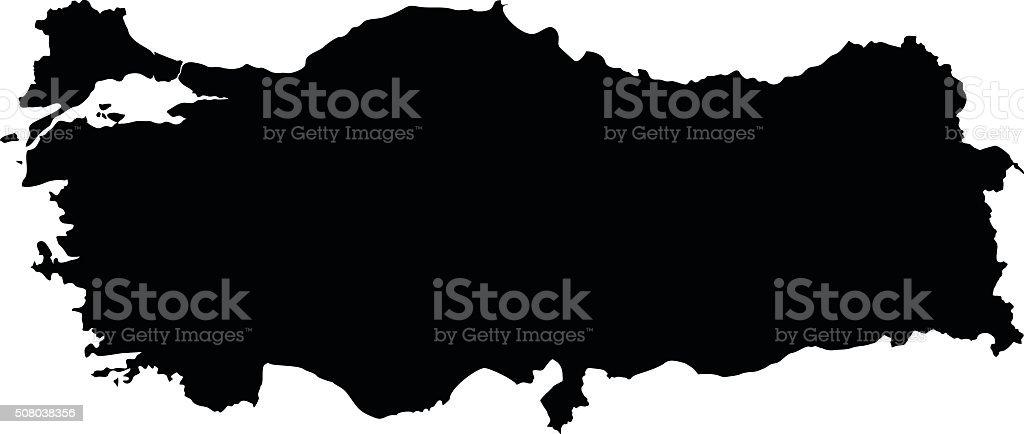 Turkey map on white background vector vector art illustration