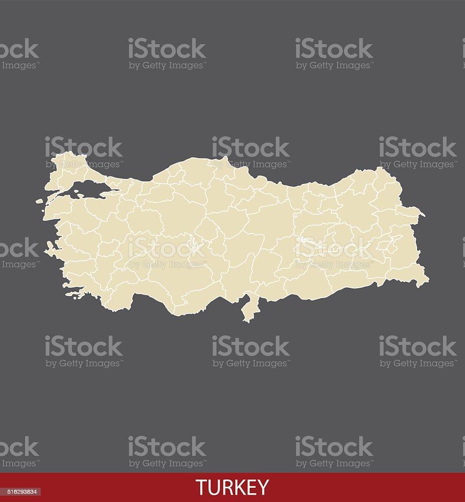 Turkey map outline vector in gray background vektör sanat illüstrasyonu