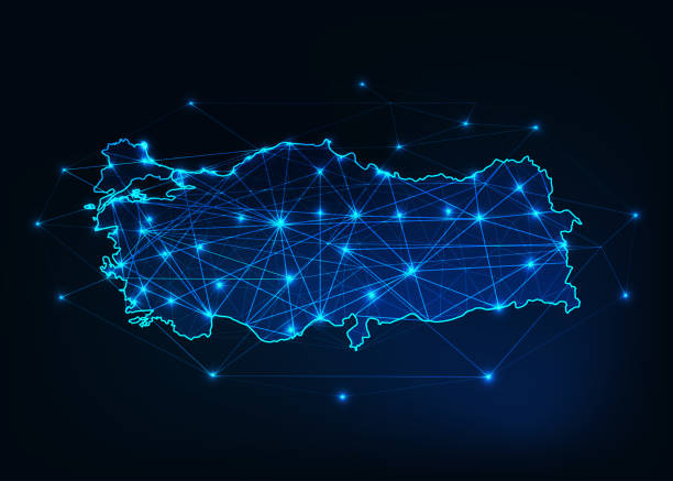 turkey map outline with stars and lines abstract framework. - turcja stock illustrations