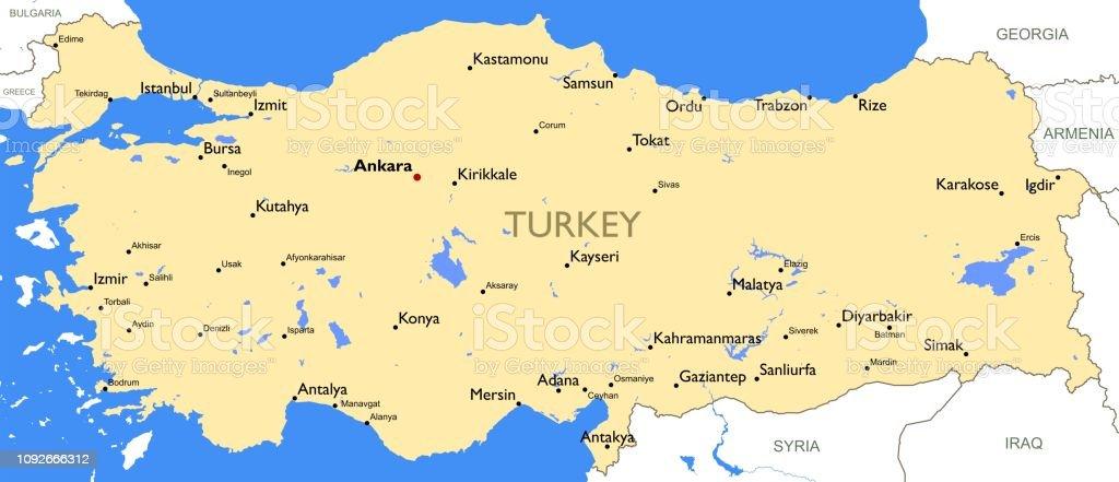 Türkiye Haritası vektör sanat illüstrasyonu