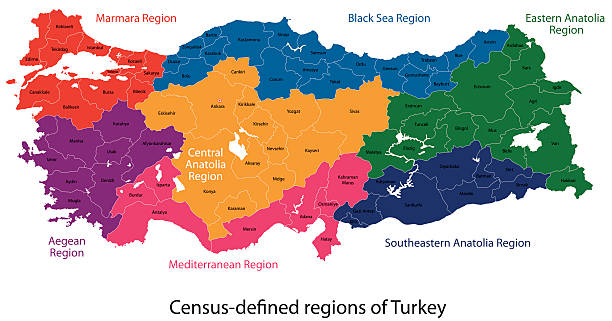 Turkey map Turkey map designed in illustration with regions colored in bright colors turkish stock illustrations