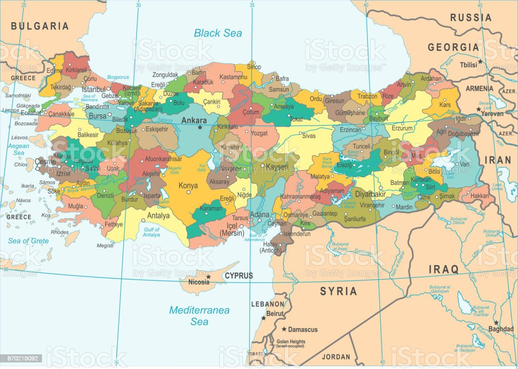 Turkey Map Vector Illustration Stock Vector Art More Images of