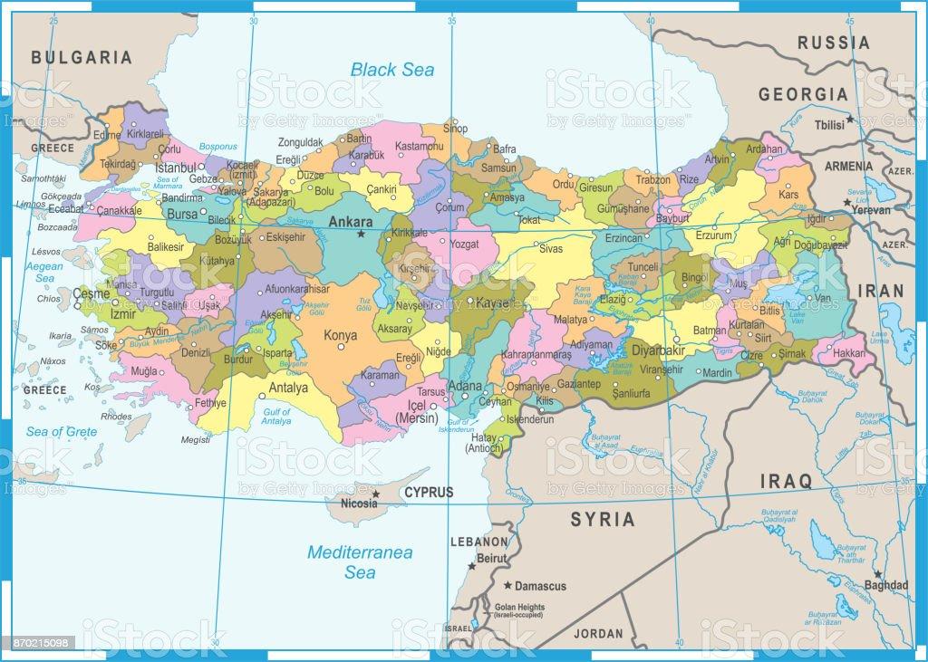 Turkey Map Vector Illustration stock vector art 870215098 iStock