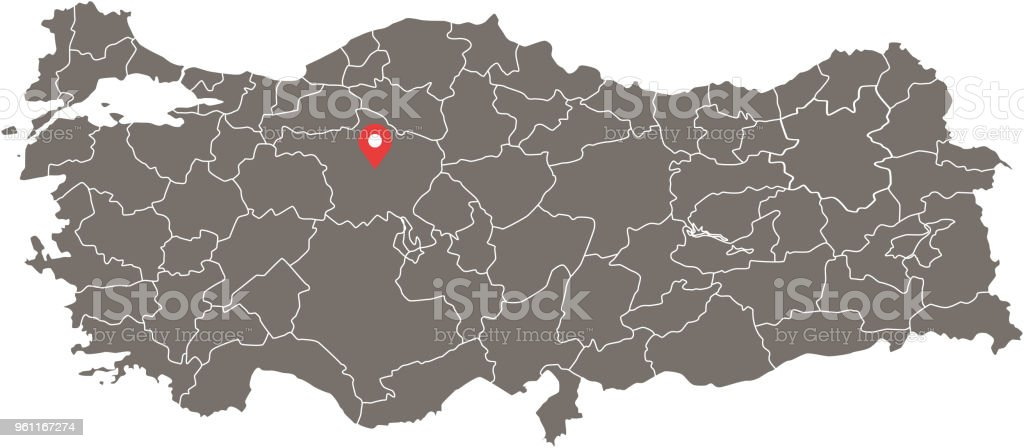Turkey Map Vector Outline With Provinces Or States Borders ...