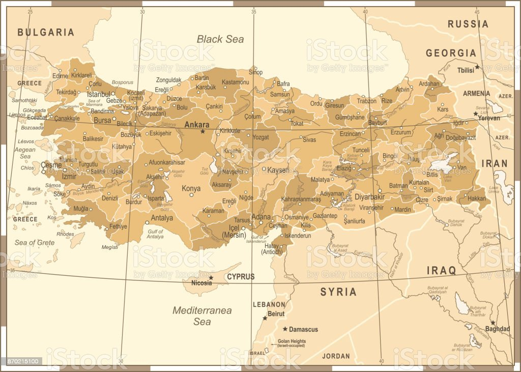 Turkey Map Vintage Vector Illustration Stock Vector Art More