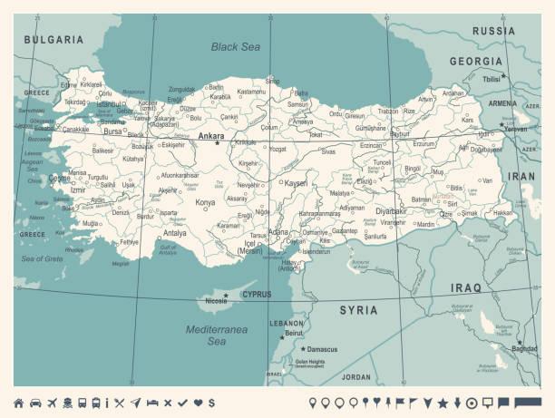 türkei karte - vintage vektor-illustration - alanya stock-grafiken, -clipart, -cartoons und -symbole