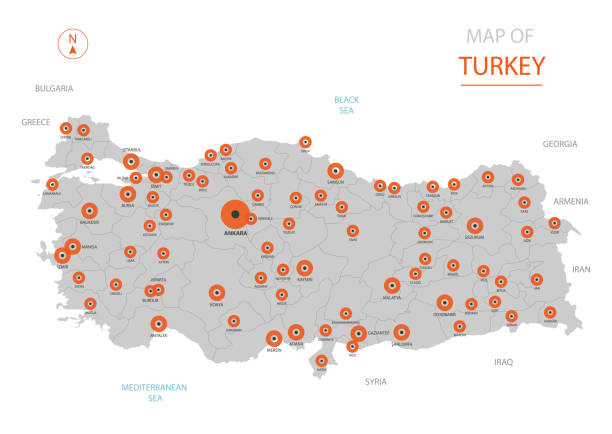 Turkey map with administrative divisions. Stylized vector Turkey map showing big cities, capital Ankara, administrative divisions and country borders turkish stock illustrations