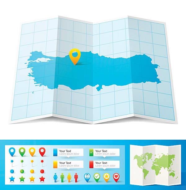 turcja mapę z lokalizacją szpilki na białym tle - turcja stock illustrations