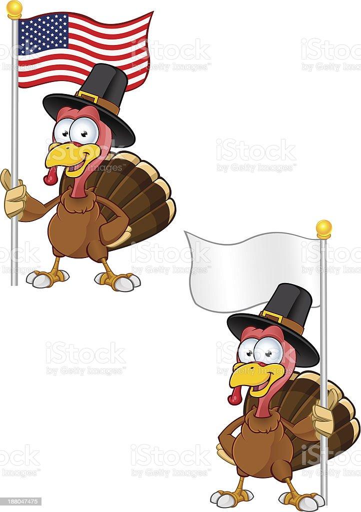 Turkey Mascot - Holding A Flag royalty-free stock vector art