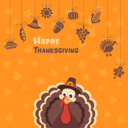 Turkey Pilgrim on Thanksgiving Day Design