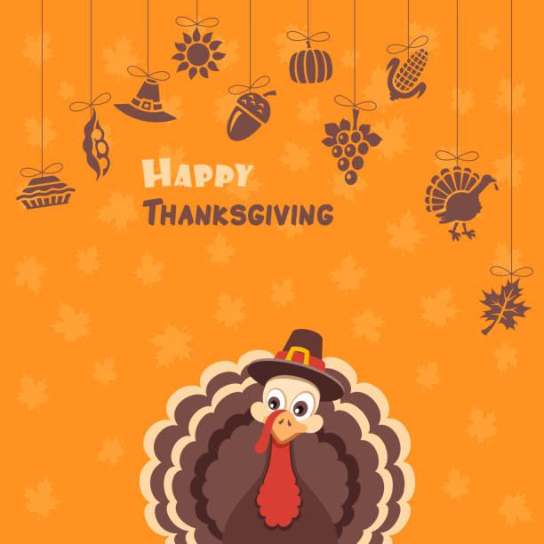 turkey pilgrim on thanksgiving day design - thanksgiving turkey stock illustrations