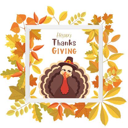 Turkey Pilgrim on Thanksgiving Day Poster.