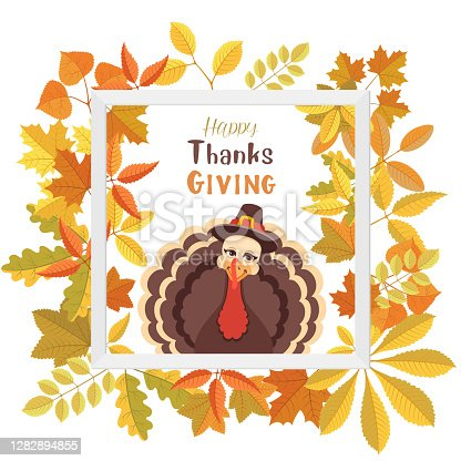 istock Turkey Pilgrim on Thanksgiving Day Poster. 1282894855