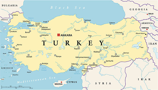 stockillustraties, clipart, cartoons en iconen met turkey political map - erzurum