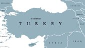 Turkey political map with capital Ankara, national borders and neighbor countries. Republic in Eurasia. Gray illustration with English labeling on white background. Vector.