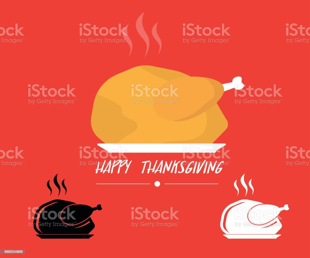 turkey roasted on plate icon for thanks giving background vector art illustration