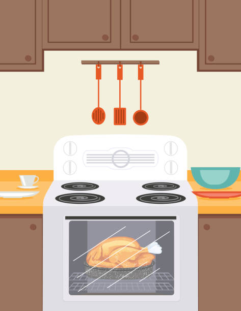 Turkey Roasting In A Retro Oven. Brown Kitchen A holiday turkey roasts in the oven of an old fashioned stove. Kitchen is beige and brown with upper and lower cabinets. There are bowls and a teacup on the counter. oven stock illustrations