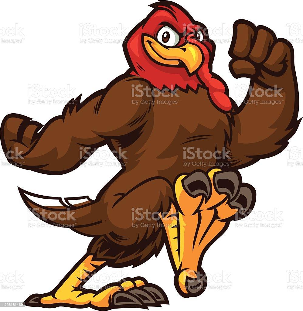 Turkey running to an run event vector art illustration