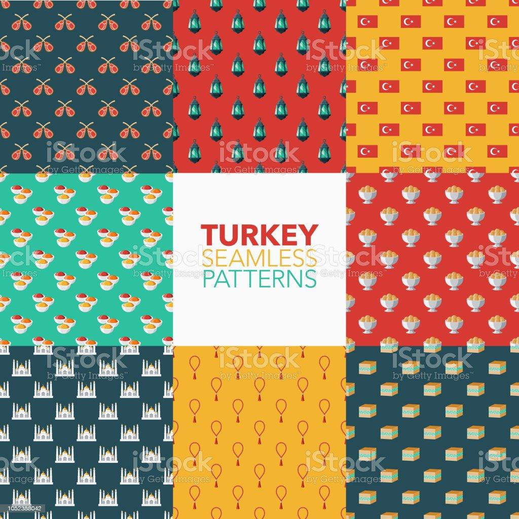 Turkey Seamless Pattern Set vector art illustration