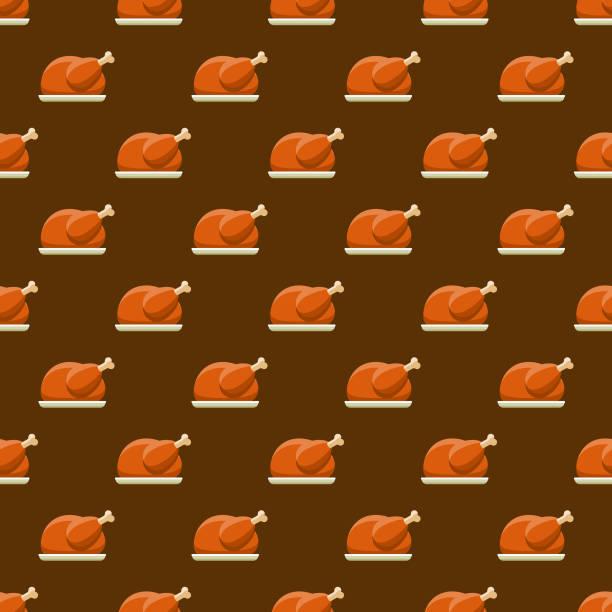 turkey seamless pattern - thanksgiving turkey stock illustrations