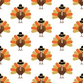 Turkey pattern on the white background. Vector illustration