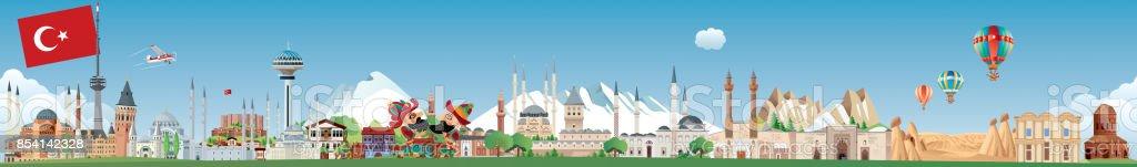 Türkiye'nin manzarası vektör sanat illüstrasyonu